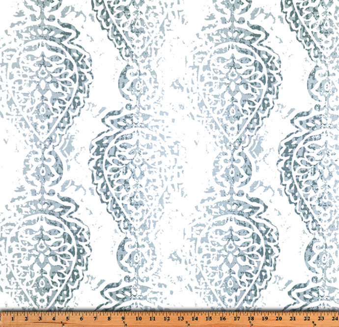 Cashmere Blue  & White Manchester print fabric. fabric by yard.  Premier Prints.