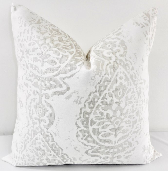 French grey  Pillow cover. Grey  & White. Manchester Damask  Sofa Pillow cover.