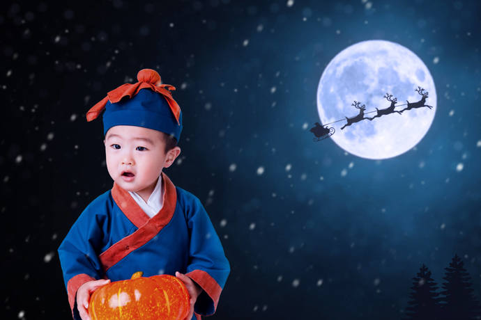 Christmas Digital Backdrop - Background - Moon - Santa - Raindeer - Snow -