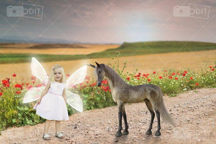 2 X Mythical Unicorn Digital Background, Backdrop, Horse, Pony, Enchanted,