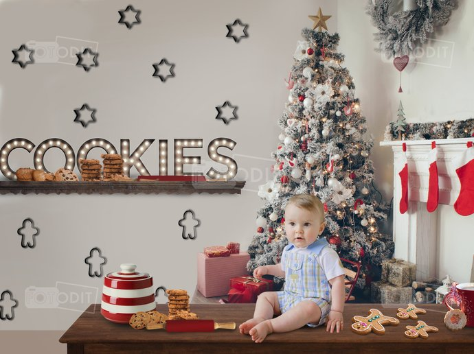 Christmas Cookies Digital Backdrop II - Background - Christmas Tree -