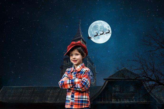 Christmas Peter Pan Digital Background, Tinker Bell, Fairy Wings. Disney