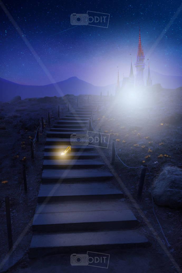 Cinderella Digital Background, Disney Inspired, Disney Themed, Gold Shoe,