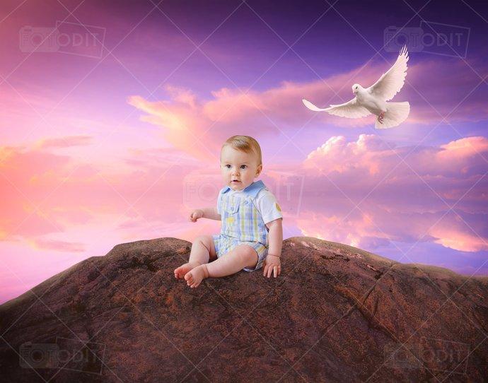 Sunset Cliff Photography Digital Backdrop, Background, Landscape, Cliff, Purple,