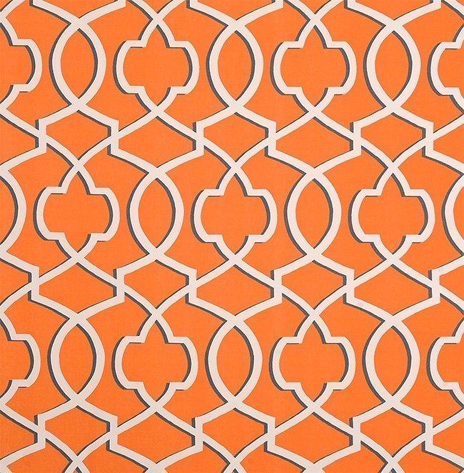 Apache Orange Macon  and white Morrow  print fabric. fabric by yard.  Premier