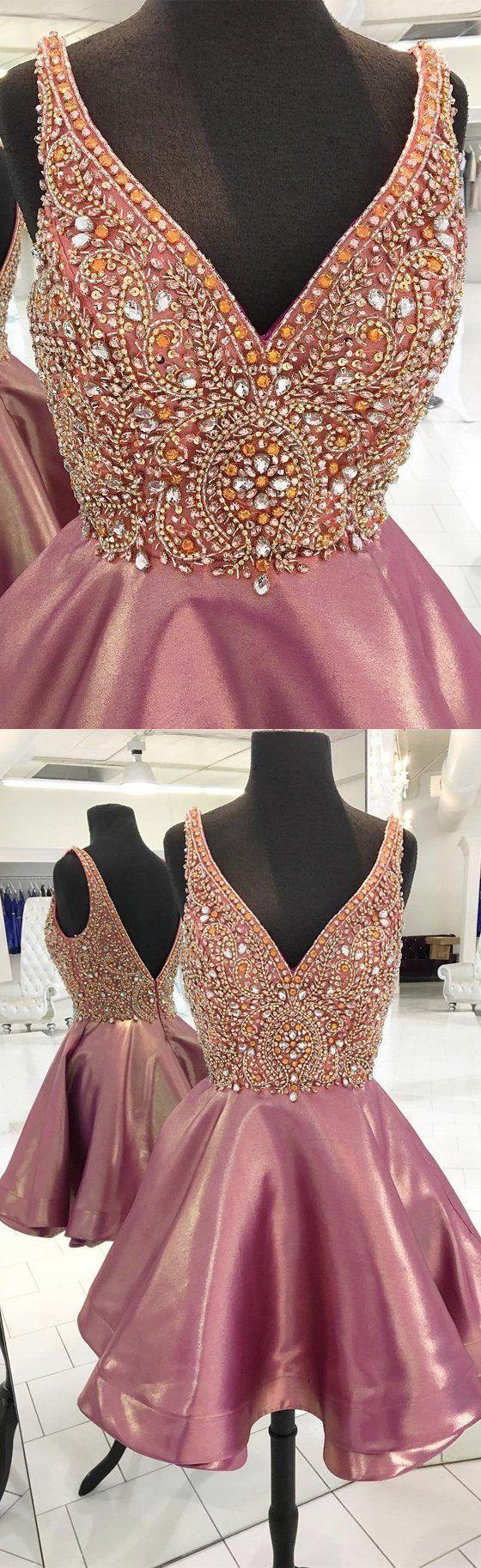 V-neck Rhinestone Beaded Homecoming Dresses, Lovely Homecoming Dresses,