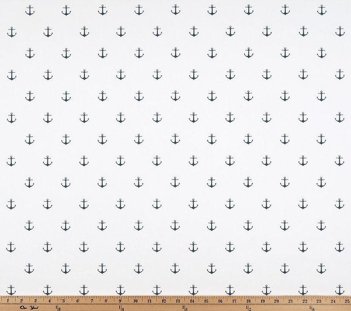 White and navy   fabric. fabric by yard.  Mini Anchor Premier Prints. cotton.