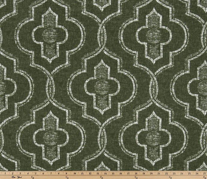 Juniper green and white in Newport damask  print  fabric. fabric by yard.