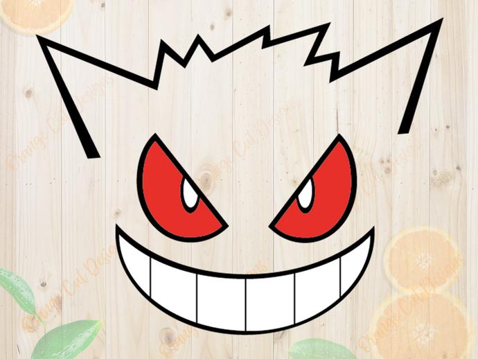 Pokemon Svg cutfiles, Gengar Face Cutfiles, Gengar Dxf, Eps & Png files, Pokemon