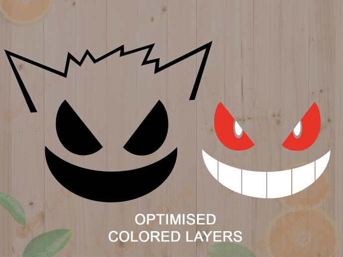 Pokemon Svg cutfiles, Gengar Face Cutfiles, Gengar Dxf, Eps & Png files, Pokemon