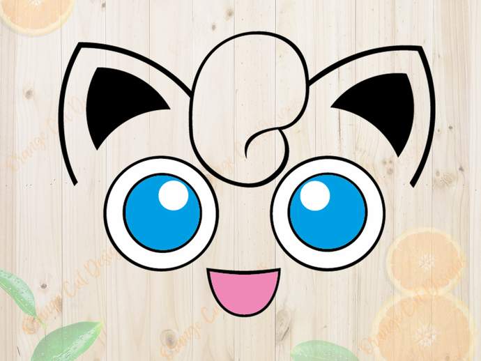 Pokemon Svg cutfiles, Jigglypuff Face Cutfiles, Jigglypuff Dxf, Eps & Png files,