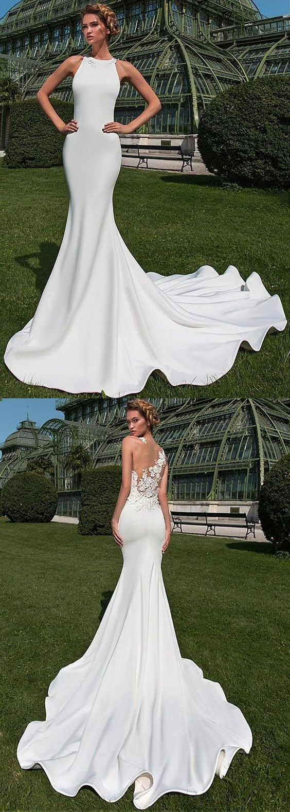 Fabulous Satin Jewel Neckline Mermaid Wedding Dress With Lace Appliques & 3D