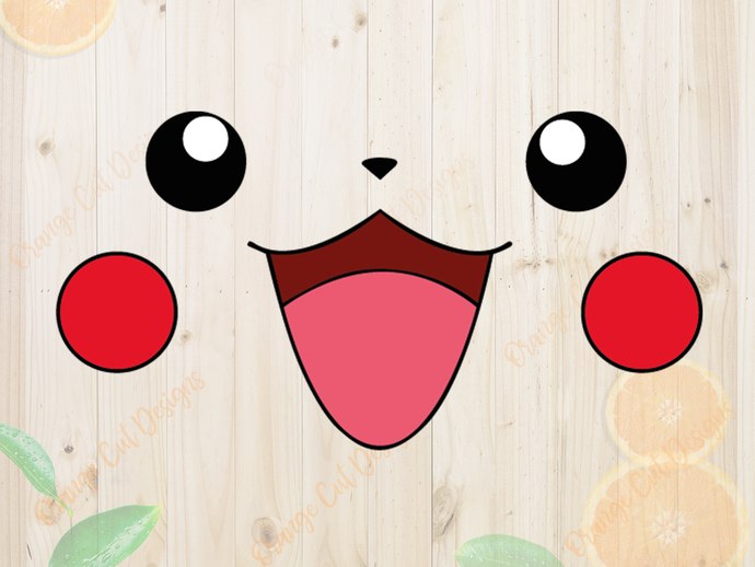 Pokemon Svg cutfiles, Pikachu Face Cutfiles, Pikachu Dxf, Eps & Png files,