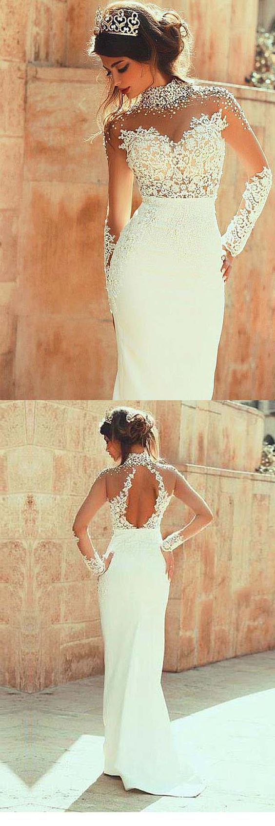 High Neckline Sheath Wedding Dresses With Beaded Lace Appliques