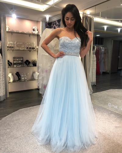 Strapless Tulle Beaded Homecoming Dress, Elegant Blue Long Prom Dress