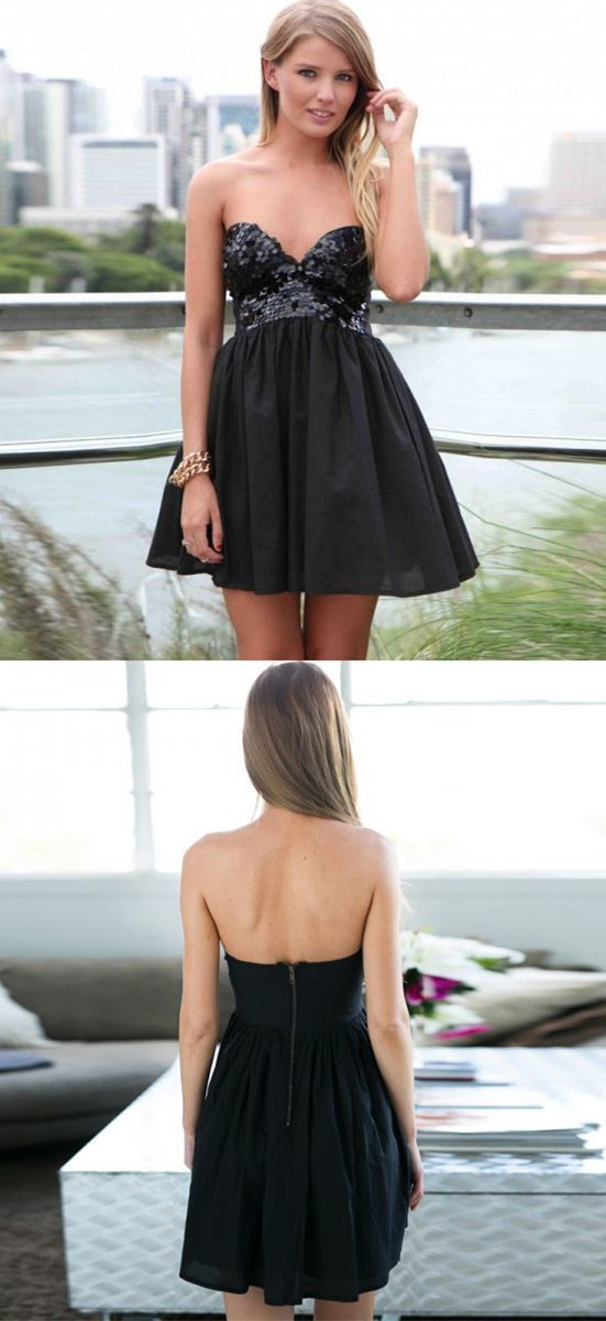Black Sequins Sweetheart Short Ruffled Skater Dress BD2142