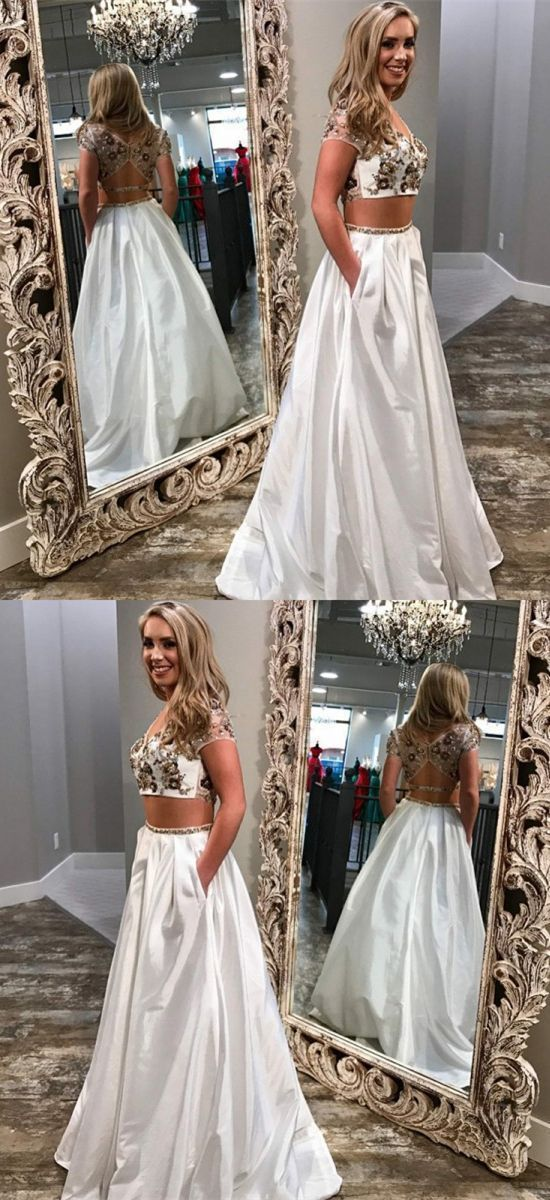 Unique Two Piece White Prom Dresses With Pockets BD2143