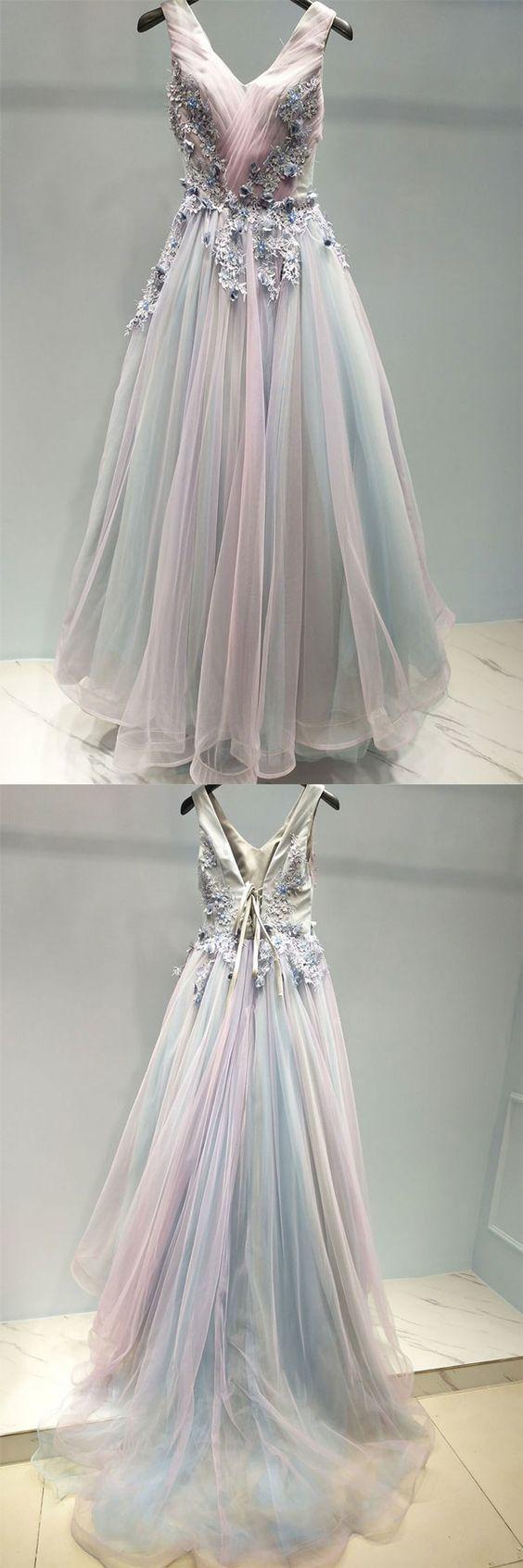 Unique v neck tulle lace applique long prom dress BD2144