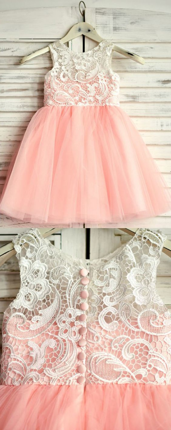 A-Line Round Neck Pink Tulle Flower Girl Dress with Lace