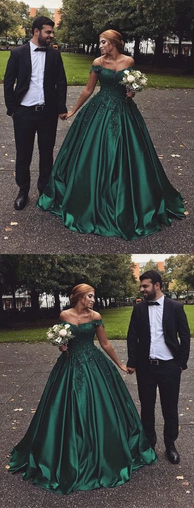 Hunter Green Satin Prom Dress,Long Off The Shoulder Party Dress BD2152