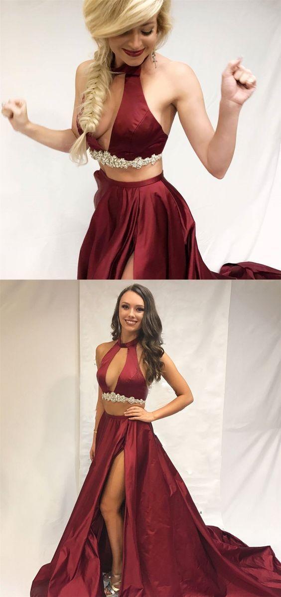 A-Line Round Neck Burgundy Satin Prom Dress with Split Beading BD2154