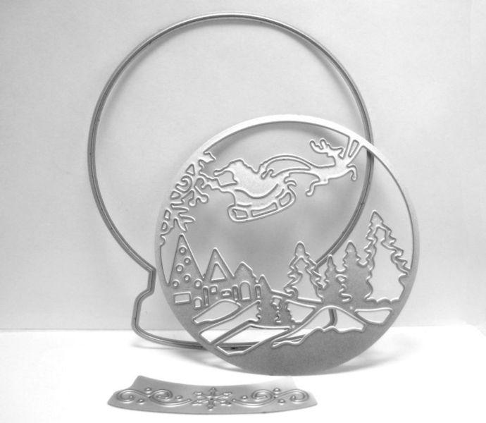 Snow Globe Metal Cutting Die Set with Santa and Reindeer
