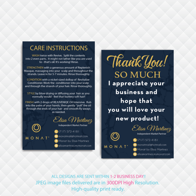 Monat Thank You Card, Monat Care Instruction Card, Monat Monat Hair Care Card,