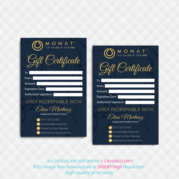 Personalized Gift Certificate Cards, Monat Business Cards, MONAT Gift Cards,