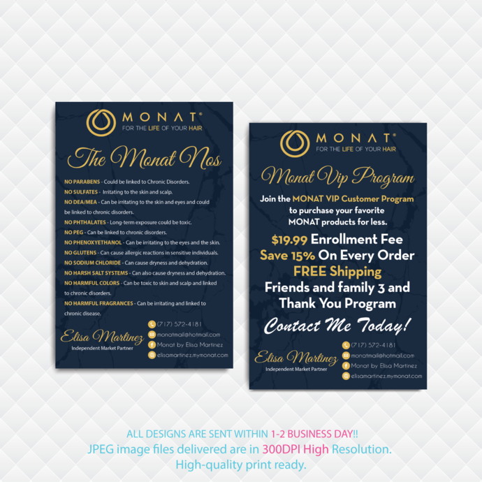 Monat Business VIP Program Cards, Monat VIP Program, Monat NOs Cards, Buyer