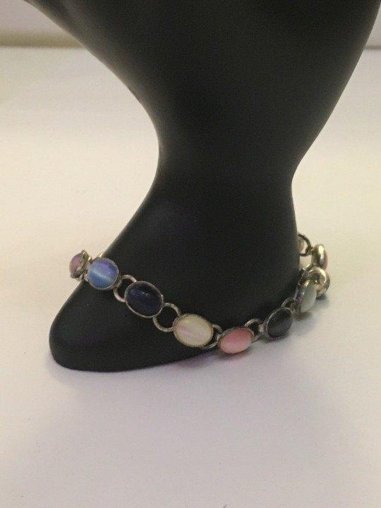 "Multi Gemstone Sterling Silver 925 Bracelet 7"""