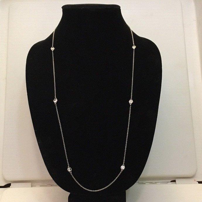 "Sterling Silver Crystal Opera Length Necklace Vintage 30"""