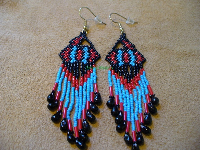 Native American Style Brick Stitched Geometric Design Earrings in Black Red and