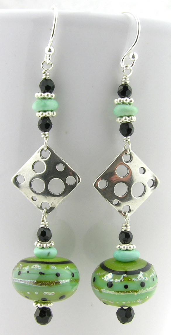 Lime and Dots Earrings - lime black dots turquoise swarovski drop sterling