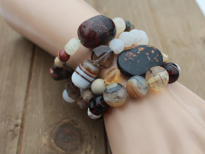 Boho Bracelet Stack The Browns Chunky Natural Stone Bracelets by KnottedUp