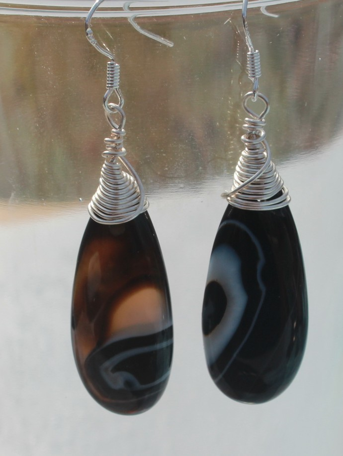 Black Widow Wire Wrapped Banded Agate Teardrop Dangle Earrings by KnottedUp