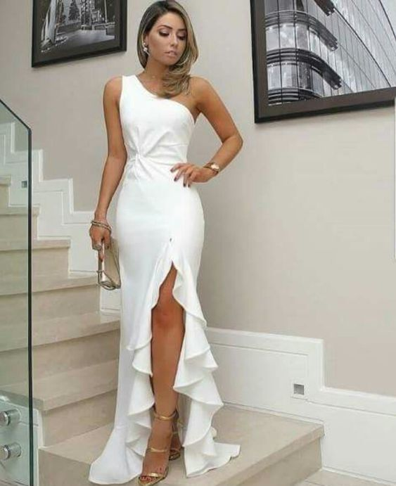 Mermaid White Prom Dress