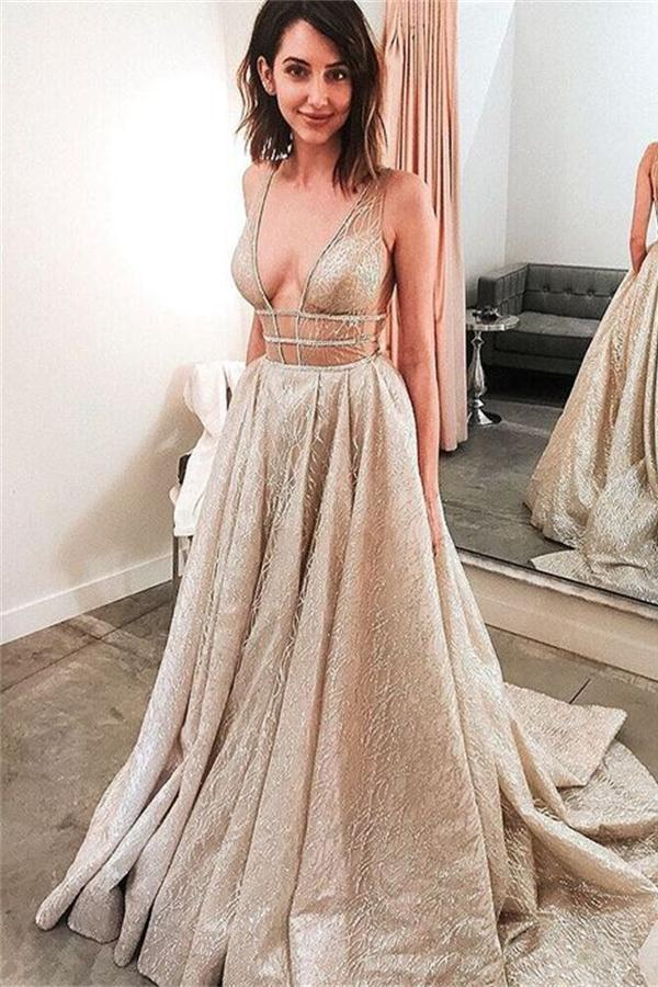9df50ff38106 Elegant Sparkly V Neck Open Back Sequin Shiny Long Sleeveless Prom Dresses