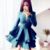 A-Line Jewel Long Sleeves Tiered Turquoise Satin Homecoming Dress BD2157