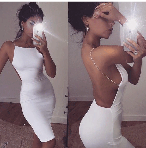 White Sexy Prom Dress,Open Back Evening Dress BD2156