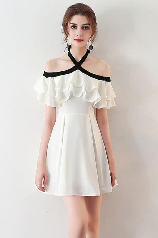 f2b7a6f49 Chic Halter A Line Simple White Off the Shoulder Chiffon Cheap Short  Homecoming