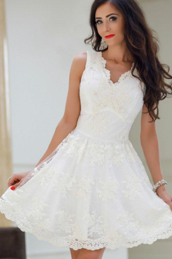 7ecad6ea5b3 A-Line V-Neck White Tulle Short Prom Dresses