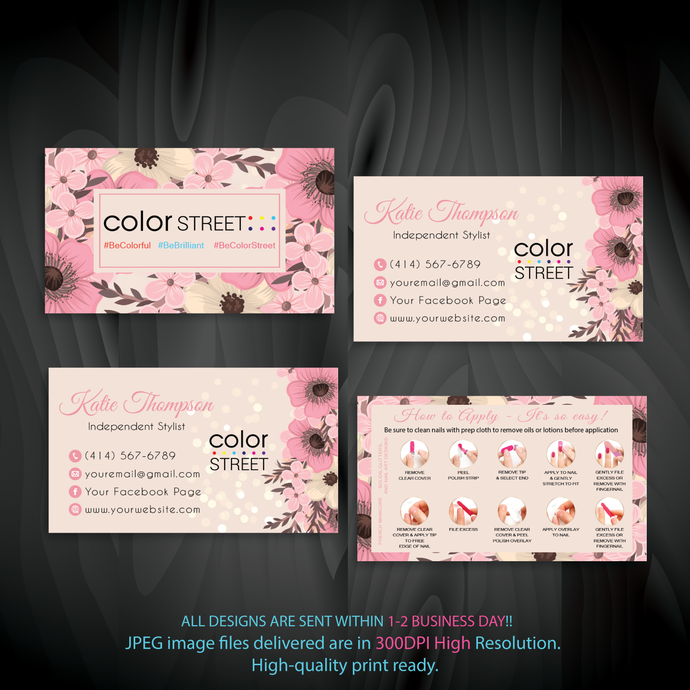 Personalized Color Street Business Card, Color Street Application Cards, Color