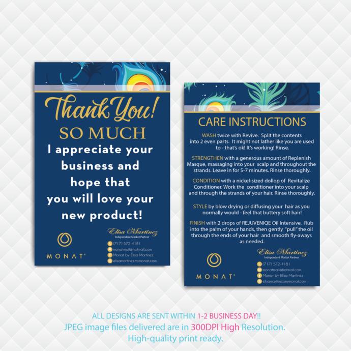 Monat Care Instruction Card, Monat Thank You Card, Monat Monat Hair Care Card,