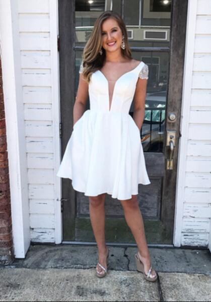 Knee Length White Homecoming Dress,Short White Modest Party Dress BD2161