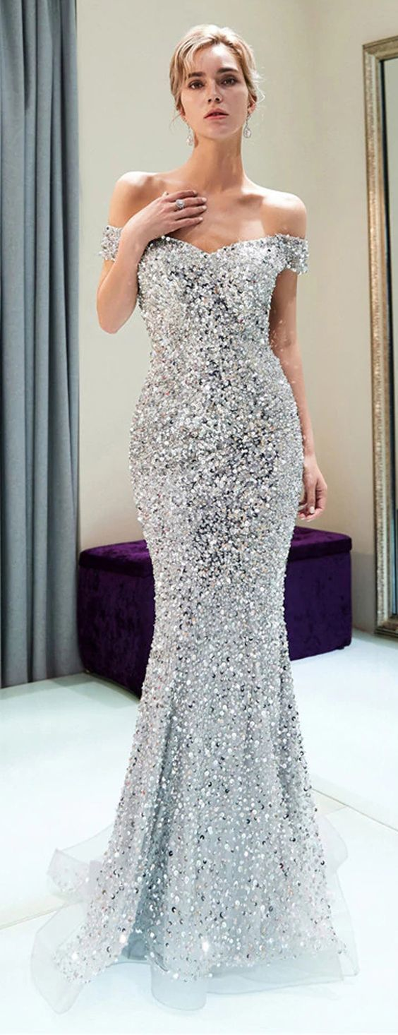 Sparkly Off Shoulder Mermaid Silver Beaded Backless Sequin Prom Dresses