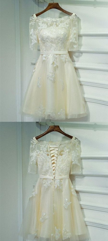 Half Sleeves Off Shoulder Lace Appliques A Line Homecoming Dresses