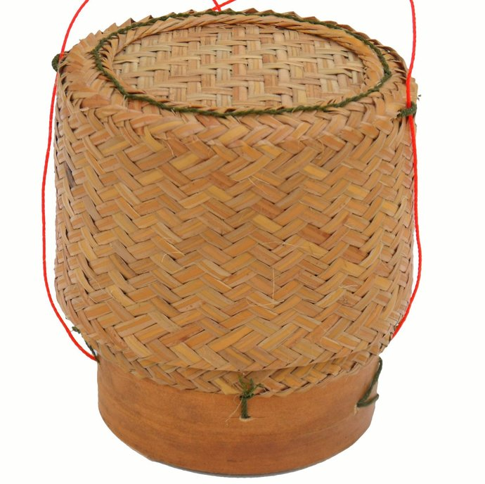 Thai Lao Bamboo and Reed Sticky Rice Serving Basket 5 Inch