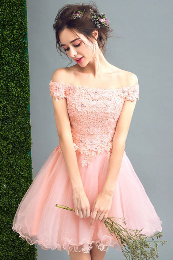 Elegant Pink Tulle A-Line Prom Dress, Off-the-Shoulder Short Appliques