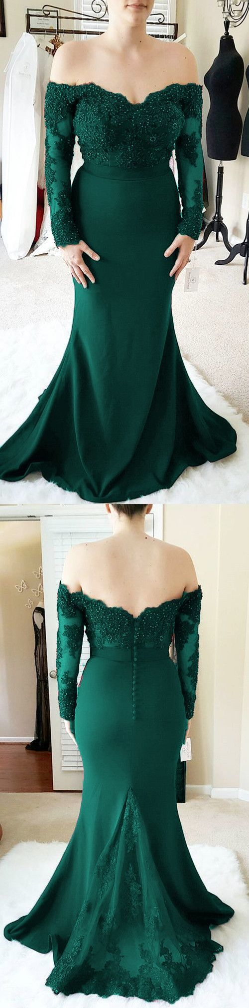 Elegant Mermaid Beads Appliques Prom Dress,  2019 Long Sleeve Formal Evening