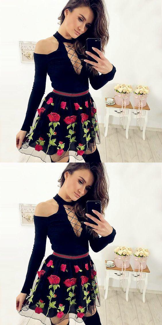 Sexy Long Sleeve Cute Flower Black Prom Dress, Short Homecoming Dress, 2019